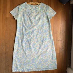 Vintage 60s Dress Mod Blue Floral Peter Pan Collar